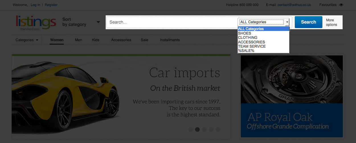 A search engine encoded in the shop front enables narrowing your search by choosing given categories. The search engine also has a system of hints appearing when you type a text.