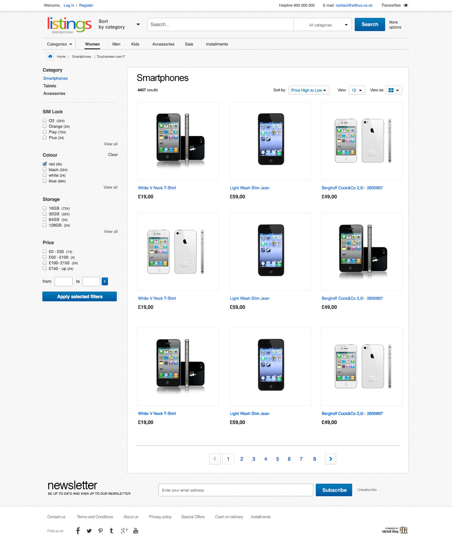 eBay shop front enables browsing the products in two styles of product presentation. The first one is a tile arrangment.