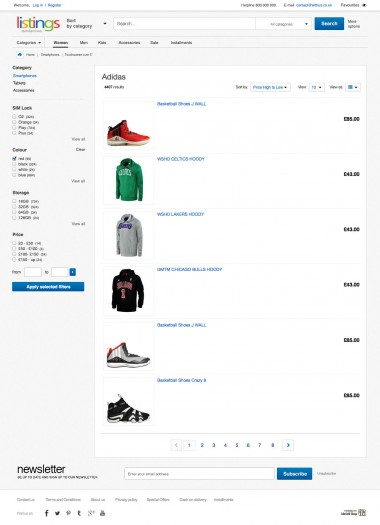 eBay shop front enables  browsing the products in two styles of product presentation. The second one is a list arrangement.