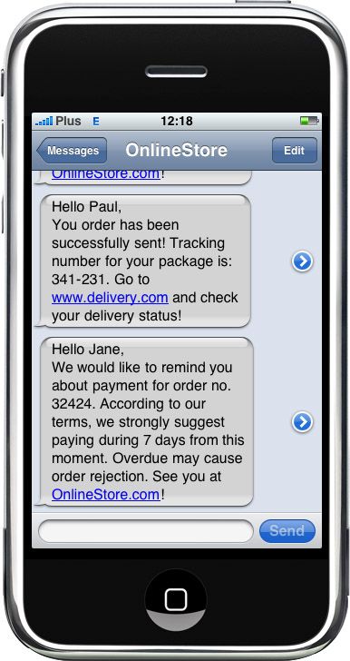 SMS notification - Thanks to messages templates, shop will automatically send texts to Your clients