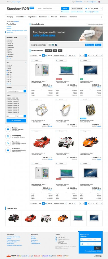 A product list - gallery mode