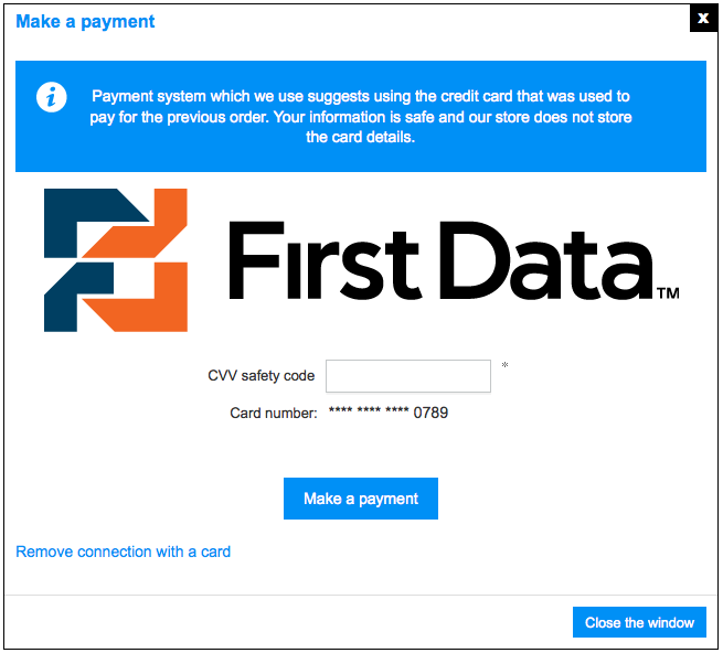 First Data payment - one-click checkout