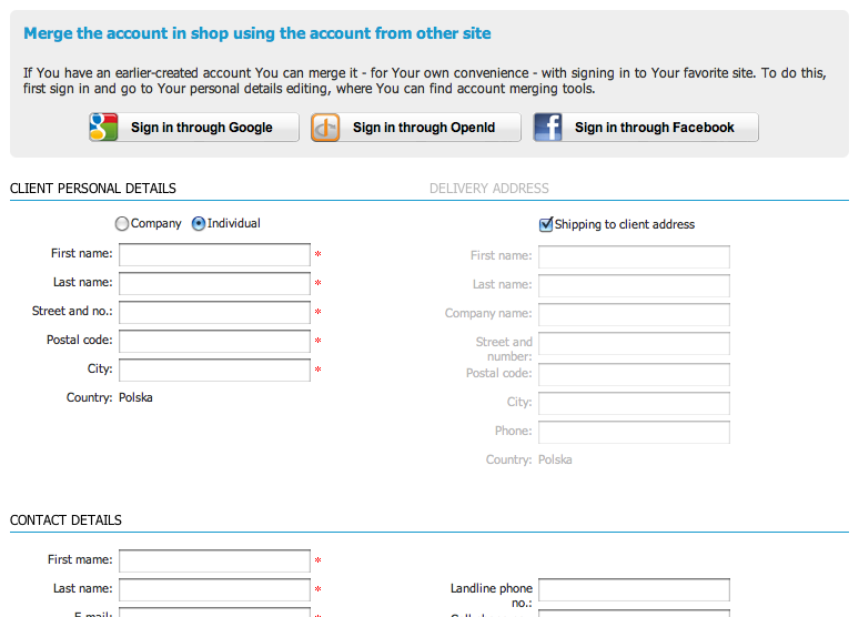 Pic 2. - Module of signing in using data from other sites displayed on registration page.