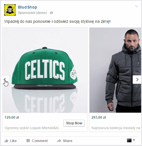 Facebook Product Ads - Okienko reklamowe Facebook Product Ads