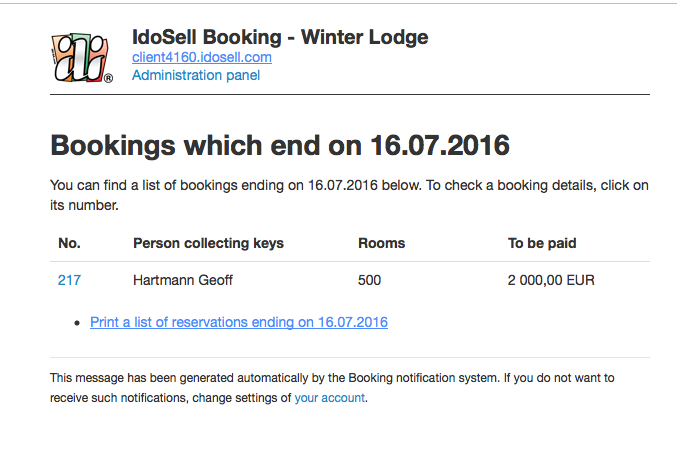 Booking notifications for the staff