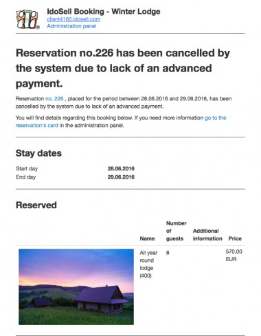 Notifications about cancelled bookings