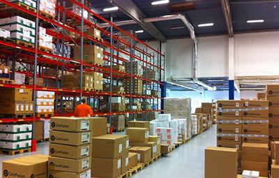 Storage spaces and locations in warehouse