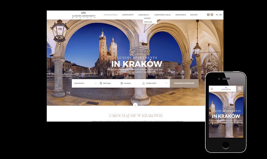 Strona internetowa i system rezerwacji apartamentu z Krakowa