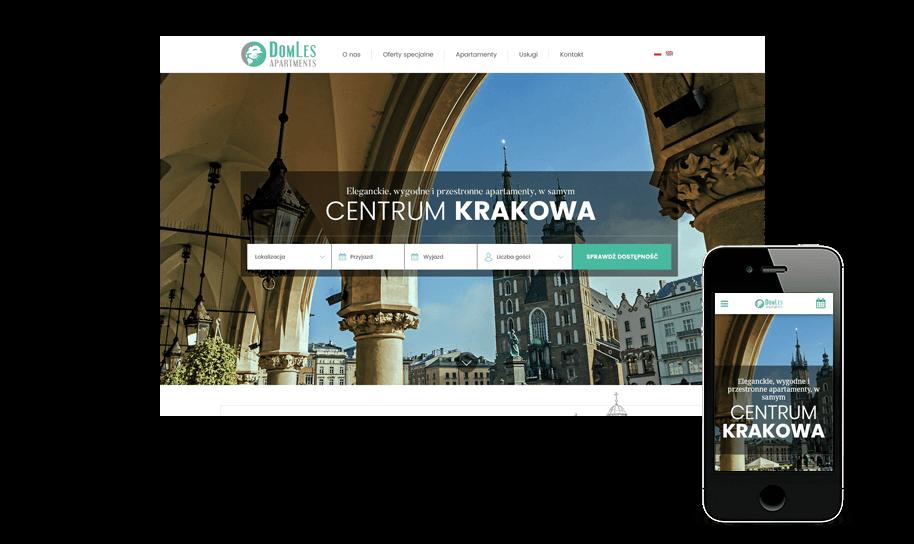 Strona www apartamentów Domles