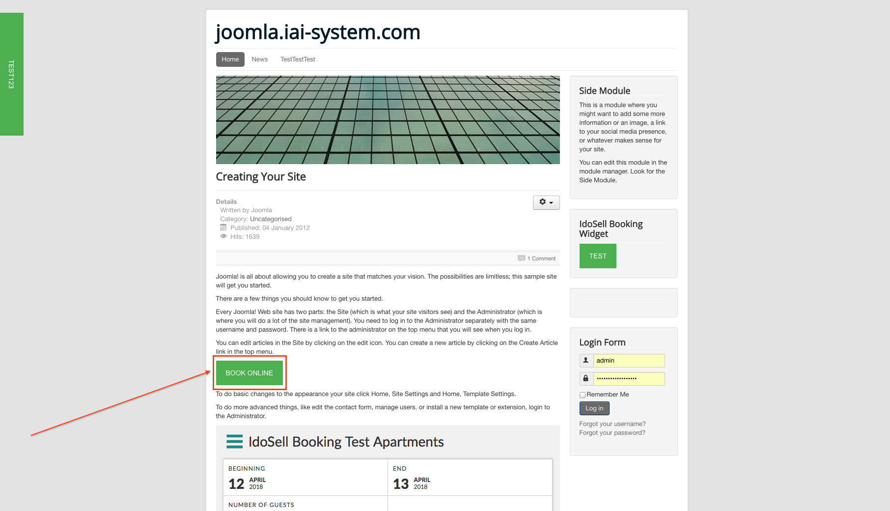 The button will be visible on your Joomla website - The button will be visible on your Joomla website