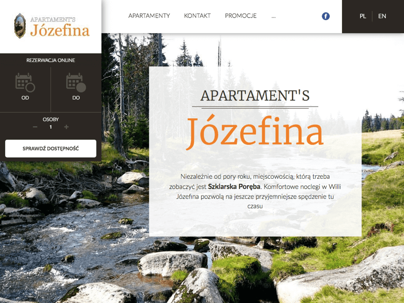 Custom website project for Apartament's Józefina