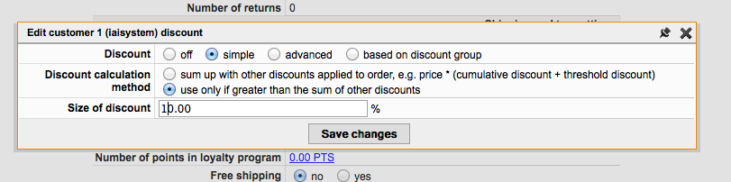Simple discount - View on the simple discount configuration