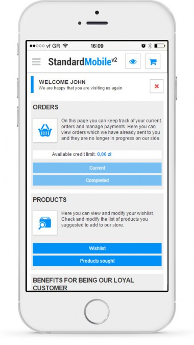 Your account - a customer can check the order status, view followed products or check a list of the previous orders.