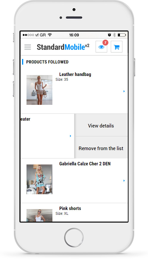 Followed - customers can add products the list of followed products. They may come back to this list and view the details of a product, order it or delete from the list.